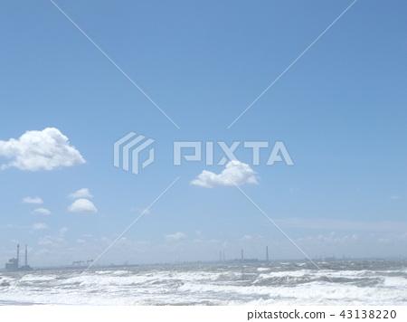 ท้องฟ้าสีครามและเมฆสีขาวด้านบน 43138220