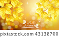 Yellow autumn leaves card 43138700