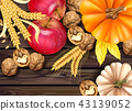 Autumn fruits and vegetables collection 43139052