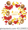 Rowan berries and walnuts wreath 43139053