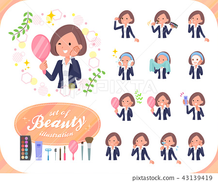 flat type Black jacket pants business women_beauty 43139419