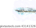 Fishing boat on watercolor paining background 43141326