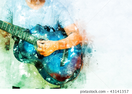 Playing Guitarist Watercolor painting background 43141357