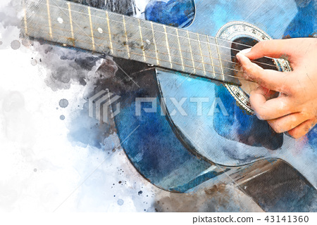 Playing Guitarist Watercolor painting background 43141360
