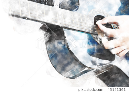 Playing Guitarist Watercolor painting background 43141361
