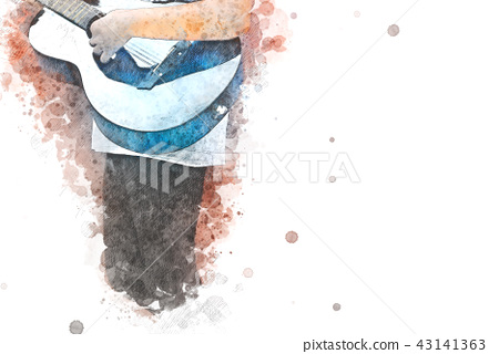Playing Guitarist Watercolor painting background 43141363