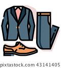 Groom costume set LineColor illustration 43141405