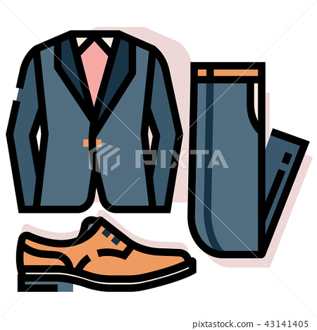 Groom costume set LineColor illustration 43141405