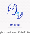 Coughing man thin line icon. Vector illustration 43142140