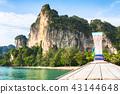 boat swims to the island,Krabi,Thailand 43144648