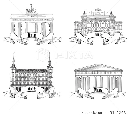European city landmark set. Berlin Wien Madrid 43145268