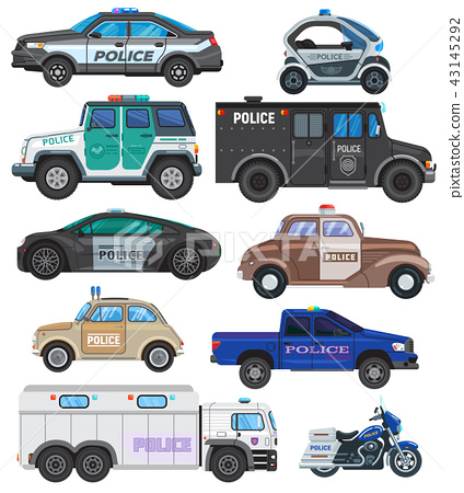 Police car vector policy vehicle and motorbike or motorcycle of policeman illustration set of police 43145292