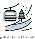 Mountain skiing Line Color Icon 43145545