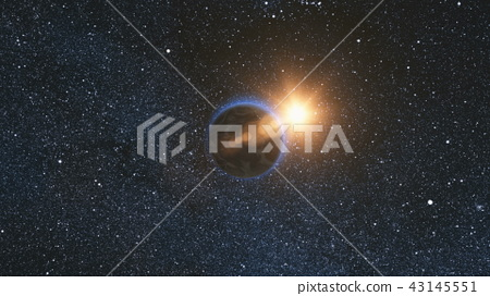 Space view on Planet Earth and Sun in Universe 43145551
