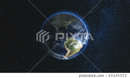 Realistic Earth Planet against the the star sky 43145553