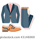 Groom costume set flat illustration 43146069