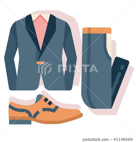 Groom costume set flat illustration 43146069