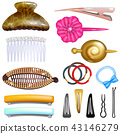 Hair accessory vector hairpin or hair-slide and hair-clip ponytailer for girlish hairstyle 43146279