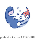 Mermaid Line Color Icon 43146608