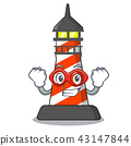 Super hero cartoon realistic red lighthouse building 43147844