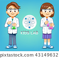 Kid test experiments science in lab. 43149632