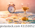 Hourglass and currency on table, Time Investment 43150052