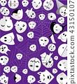 Jack-o-Lantern Evil Pumpkins on Halloween Purple 43150107