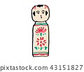 japanese wooden doll, white background, sum 43151827