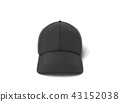 3d rendering of a single black baseball cap with black stitching lying on a white background. 43152038