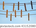 Clothespins on a clothesline against a blue sky 43152080
