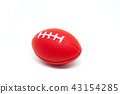 Red rugby ball toy isolated on white background. 43154285