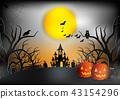 Halloween night background with pumpkin 43154296