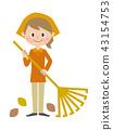중년 여성 청소 갈퀴 43154753