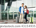 Happy young asian couple traveler standing 43154935