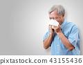 Older asian man is having flu and sneezing 43155436