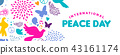 World Peace Day web banner of dove bird icons 43161174