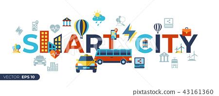 Digital vector smart city icons set 43161360