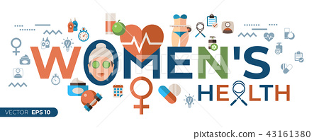 Digital vector woman health icons set 43161380