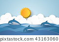 Sea with dolphins and sun , paper art style 43163060