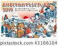 "2019 New Year's card ""slightly funny seven lucky gods"" Ashime with Japanese annotation 43166104"