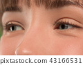 The close up eyes on face of young beautiful caucasian girl 43166531