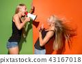 megaphone, shouting, female 43167018