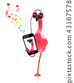 flamingo listening to music 43167578