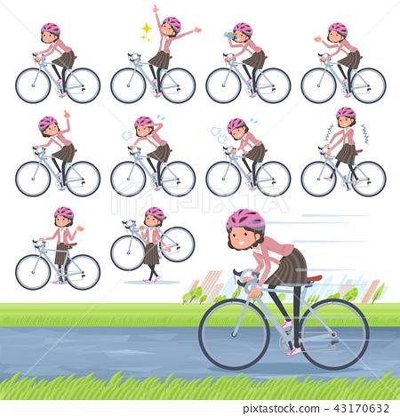 flat type Pink jacket Middle women_road bike 43170632