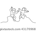 Continuous one line drawing. Happy boys running 43170968