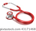 Red stethoscope, 3D 43171468