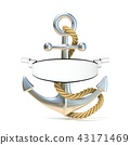 Steel anchor with rope and blank ribbon. 3D 43171469