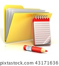 Folder icon with red pencil and notepad. 3D 43171636