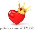 Red heart with golden crown. 3D 43171757