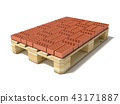 Euro pallet with one row of ceramic bricks. 3D 43171887